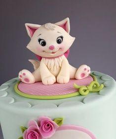 Cat Cake Topper, Fondant Cake Toppers, Fondant Figures, Fondant Cakes, Cupcake Cakes, Birthday Cake For Cat, Birthday Kitty, Flower Birthday, Birthday Ideas