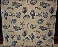 Seashell fabric blue ocean nautilus seahorse