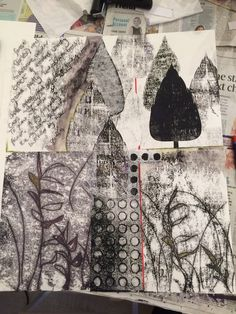 Monoprint has been by far the most requested subject for workshops this year so it seems right it was the subject of the final class of the . Gelli Printing, Printing On Fabric, Screen Printing, Simple Collage, Collage Art, Tao, Art Textile, Textiles, Science Art