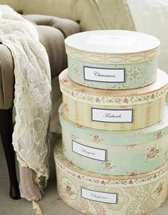 vintage hat boxes...great for decorating just simply place them in a corner on the floor.