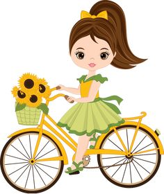 Illustration of Vector cute little girl riding a bicycle. Vector bicycle with basket of sunflowers. Little girl vector illustration. vector art, clipart and stock vectors. Cartoon Girl Images, Girl Cartoon, Cute Cartoon, Art Drawings For Kids, Drawing For Kids, Cute Drawings, Cute Little Girls, Cute Kids, Bicycle Painting
