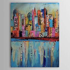 Abstract/Landscape/Abstract Landscape Oil Painting Hand-Painted Canvas Wall Art Other Artists One Panel Ready to Hang – AUD $ 57.53