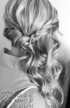 Curled half updo swept to the side @Tanis Lavallee Lavallee Lavallee Lavallee Lichti sooo pretty eh?! Behind The Chair, Wedding Hairstyles, Makeup, Hair Styles, Wedding Hairsyles, Make Up, Hair Plait Styles, Maquillaje, Wedding Updo Hairstyles