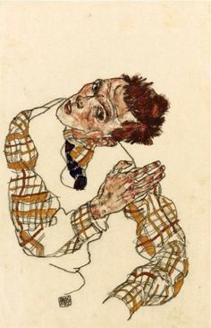 Egon Schiele    Selbstbildnis mit Kariertem Hemd (Self-portrait with Checkered Shirt), 1917    Gouache, watercolor, and black crayon on paper