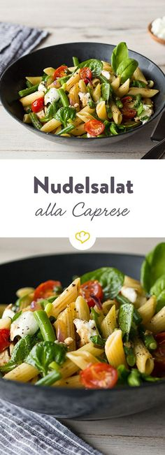 Nudelsalat alla Caprese What a single salad can do with one … But even if it is so light and aromatic, it can quickly give holiday happiness. Caprese pasta salad recipeTurkey Curry Pasta SaladMediterranean pasta salad without mayo – the Italian Caprese Pasta Salad, Pasta Salad Recipes, Healthy Salad Recipes, Veggie Recipes, Vegetarian Recipes, Caprese Salat, Beginner Vegetarian, Vegetarian Lifestyle, Snacks Recipes