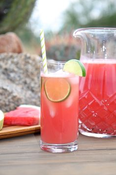 Nothing sounds like summer more than the whisper of watermelon. This little drink is perfect served pool side and will have the kiddos begging for more. When just serving adults, you can spice it Juice Smoothie, Smoothie Drinks, Healthy Smoothies, Healthy Drinks, Healthy Recipes, Limeade Drinks, Refreshing Drinks, Summer Drinks, Fun Drinks
