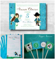 Pixies Pirates Party Invitation by Pepper Avenue #pixieinvitation #pirateinvitation