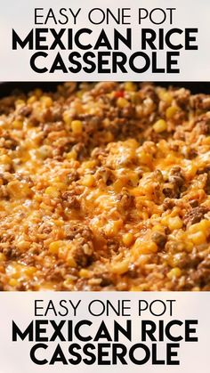 One Pot Mexican Rice Casserole is a super flavorful, quick and easy ground beef recipe! Your whole family will love this tasty casserole full of beef, rice, corn, and tons of taco flavor! with ground beef easy quick Easy One Pot Mexican Rice Casserole Easy Casserole Recipes, Easy Dinner Recipes, Pasta Recipes, Chicken Recipes, Keto Recipes, Easy Tasty Recipes, Easy Family Recipes, One Pot Recipes, Easy Meals For Dinner