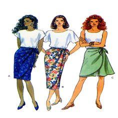 Mock Wrap Skirt, Skort, Butterick 6715, Women Skirt, Sewing Pattern, Tied Waist, Knee Length, Midi Length, Plus Size 12 - 14 - 16, UNCUT by FindCraftyPatterns on Etsy