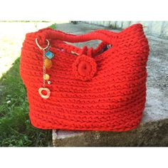"""Bag crochet in cotton lined """"ReD my PaSSion Bag""""with keychain combined... (€26) ❤ liked on Polyvore featuring justforyouhm"""