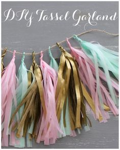 Creative: Eleven Adorable Craft Projects  So pretty! Linen, Lace, & Love shares this DIY Tissue Paper Tassel Garland