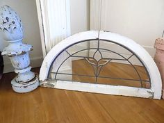 WOW Antique ARCH Beveled & Lead Glass TULIP Window  Vintage