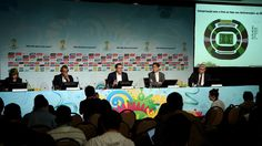 FIFA media relations manager Delia Fischer, Cafu, FIFA Marketing Director Thierry Weil, Secretary of Brazil Sports Ministry Luis Fernandes and CEO of the LOC Ricardo Trade attend the media briefing to announce the ticketing strategy for the 2014 FIFA World Cup