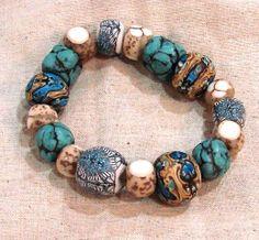 polymer bead stretch bracelets by Pamela Carman