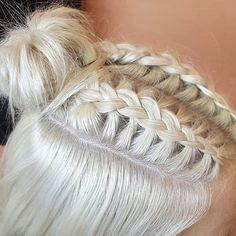 Ideas for hair bangs updo french braids Braids Blonde, Blonde Bun, Blonde Hair Makeup, Platinum Blonde Hair, French Braided Bangs, French Braid Styles, Two French Braids, French Braid Buns, Bangs Updo