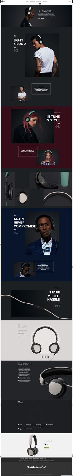 Headphones LP; good mix of branding and tech specs (links to live page with neat interactions)