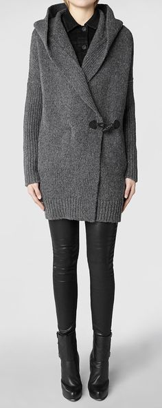 Grey shawl cardigan