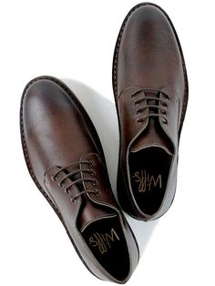 Mens vegan casual derby shoes in dark brown by Wills London