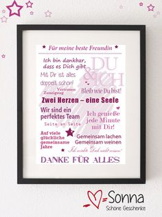 Hier biete ich Dir eine PDF mit lieben Wünschen für Deine beste Freundin an, die Du selbst ausdrucken kannst und dann zum Beispiel mit oder ohne Rahmen verschenken kannst.  **Tolles Geschenk für...