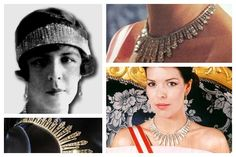 """THE PRINCESS CHARLOTTE FRINGE TIARA~ It never referred to The Romanovs but called the """"Russian Tiara"""". This fringe tiara has only been photographed on the head of one Monegasque princess: Charlotte, mother of the late Prince Rainier. She gained the tiara from her father Louis II who recognized her legitimacy and made her his heir. The tiara is echo of the style of a Russian kokoshnik. Today Princess Caroline sometimes wears it - but only as a necklace. Her mother Grace never wore it."""