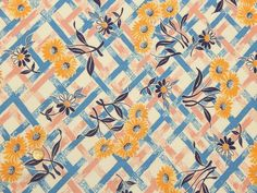 VTG COTTON FEEDSACK FABRIC ~ Pretty Yellow Flowers on Blue Pink Plaid Flour Sack