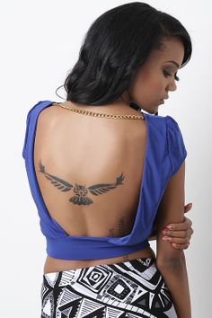 owl bird abstract modern back tattoo - I like it cause it's different