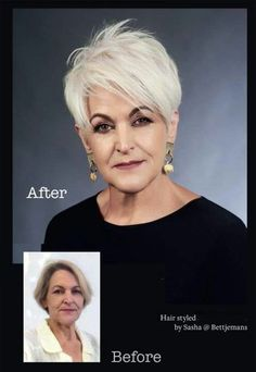 Before and after … bettjemans hairdressers auckland auckland bettjemans hairdressers – Artofit Short Grey Hair, Short Hair Cuts For Women, Short Hairstyles For Women, Short Hair Styles, Short Haircuts, Mom Hairstyles, Hairstyles Videos, Great Hair, Silver Hair