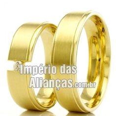 c69cf243a90 Aliança de noivado e casamento em ouro amarelo 18k Largura 5.0mm Pedras 1  diamante de