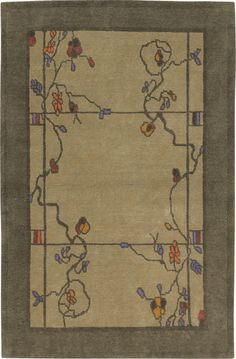 Rose & Wisteria, Verde, hand-knotted pure Tibetan Himalayan wool carpet.  View the entire Craftsman Collection at  www.tigerrug.net