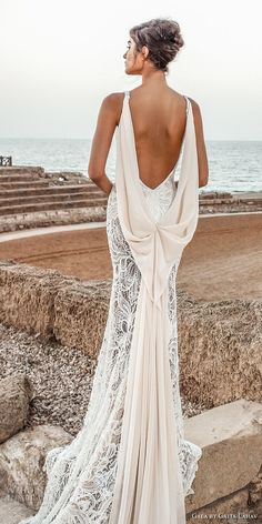 galia lahav gala 2017 bridal sleeveless spagetti strap deep plunging v neck full embroidered elegant sexy sheath wedding dress open low back chapel train (804) bv
