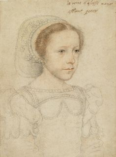 Portrait of Mary, Queen of Scots ca. 1549 Artist: François Clouet, French, ca. 1516–1572   Black and red chalk Sheet: 28.5 x 21.2 cm (11 1/4 x 8 3/8 in.), framed: 45.7 x 54 x 4.8 cm (18 x 21 1/4 x 1 7/8