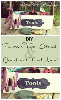 After my first chalkboard paint project as seen here was complete, I had lots of paint left over and wanted to try something else with i. Chalkboard Paint Projects, Diy Chalkboard, Handwritting, Painters Tape, Diy Tools, Repurposed, Stencils, Label, Calligraphy