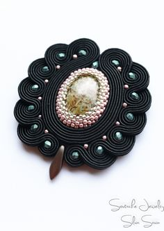 Black Handmade Soutache Brooch