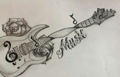 Music Tattoo Designs: Guitar music tattoos design images - Famous Last Words Guitar Tattoo Design, Music Tattoo Designs, Music Tattoos, Body Art Tattoos, Sleeve Tattoos, Tatoos, Music Tattoo Sleeves, Tattoos For Kids, Great Tattoos