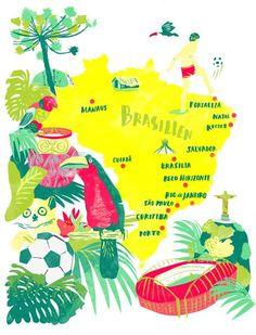 brasil illustrated map - Recherche Google