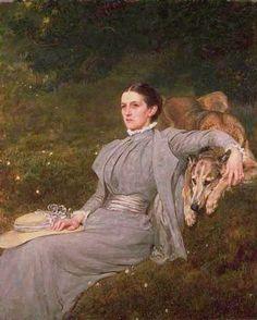 Riviere, Briton (b,1840)- Lady Tennyson w Old Wolfhound (Karenina), 1899