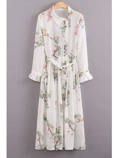 Floral Turn Down Collar Long Sleeve Dress And Cami Dress Twinset WHITE: Maxi Dresses | ZAFUL