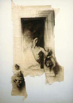 Ernest Pignon-Ernest - David et Goliath (d'après Caravage) réunissant les têtes tranchées de Caravage et Pasolini - Naples 1988
