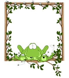 FROG Eat The Frog, Frog And Toad, Funny Frogs, Cute Frogs, Page Borders, Borders And Frames, Frosch Illustration, Disney Frames, Scrapbook Paper
