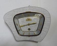 Belle Horloge Pendule FFR Vintage Des Années 50's Formica Gris Dec10b