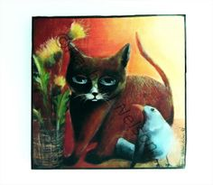 Cat with Dandelions and One Blue Bird Art Print by OneRachaelArt, 40.00 dollars