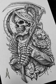 Tatto Skull, Skull Sleeve Tattoos, Half Sleeve Tattoos Designs, Skull Tattoo Design, Tattoo Design Drawings, Tattoo Sketches, Half Sleeve Tattoos Sketches, Egypt Tattoo, Magic Tattoo