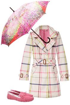 Classic plaid gets a cheery update in pink and green, while rosy rubber loafers are an unexpected alternative to rain boots. A Monet-print umbrella brightens even the dreariest days.