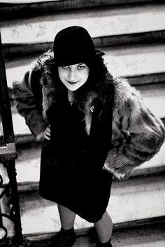 Lilya Brik, russian soviet fashion 1920s, dress, fur, hat