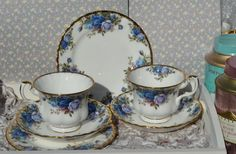Royal Albert Moonlight Rose Pair of Trios- Tea Cups, Saucers, Tea Plates, Vintage English Blue Rose and Gilt Bone China, Excellent Condition by ImagineHowCharming on Etsy