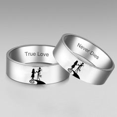 Nightmare Before Christmas Couples Rings ($69) ❤ liked on Polyvore featuring jewelry, rings, lovers rings, christmas ring and christmas jewelry