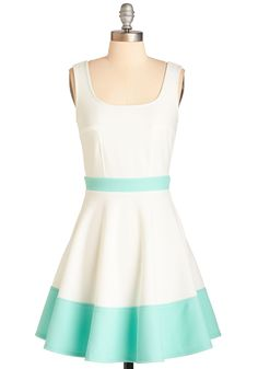 Tale of Cute Cities Dress - Mid-length, Knit, White, Mint, Solid, Daytime Party, Pastel, A-line, Sleeveless, Spring, Colorblocking, Exposed zipper