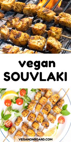 These vegan souvlaki skewers are made with tofu and beautifully marinated in olive oil, lemon juice, oregano and fresh garlic. Whether grilled, baked or pan fried, these Greek inspired tofu skewers are an amazing summery main dish or appetizer. Grilled Skewers, Grilled Tofu, Baked Tofu, Greek Appetizers, Skewer Appetizers, Veggie Meals, Veggie Recipes, Vegetarian Recipes, Vegetable Bake