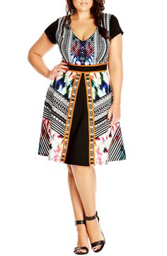 fef20f0d2f City Chic  Moroccan Geo  Fit  amp  Flare Dress (Plus Size) Plus