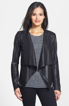 Women's LaMarque Draped Front Goatskin Leather Jacket, Size